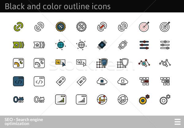 Stockfoto: Zwarte · kleur · schets · iconen · dun · lijn