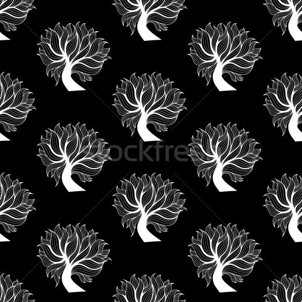 Czarno białe drzewo pozostawia wektora Zdjęcia stock © sidmay