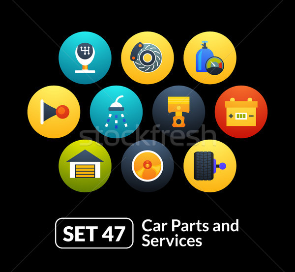 Flat icons set 47 - car parts and services Stock photo © sidmay