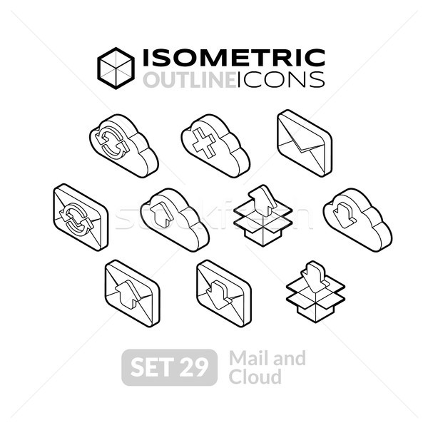 Isometrica contorno icone 3D pittogrammi Foto d'archivio © sidmay