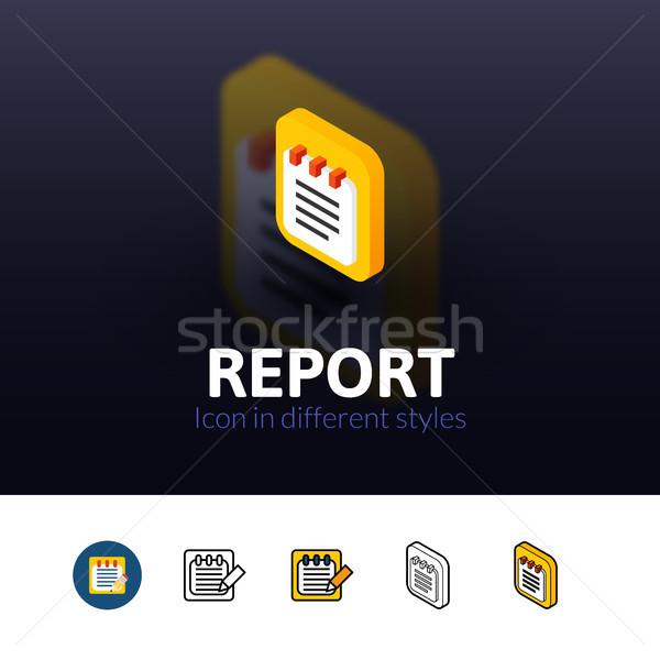 Foto stock: Informe · icono · diferente · estilo · color · vector