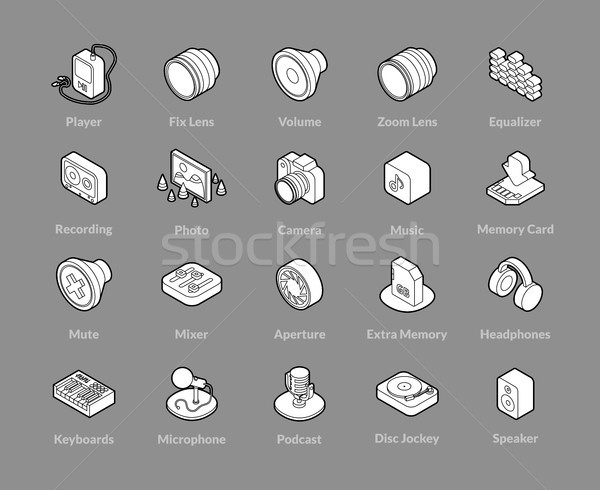 Isometric outline icons set Stock photo © sidmay