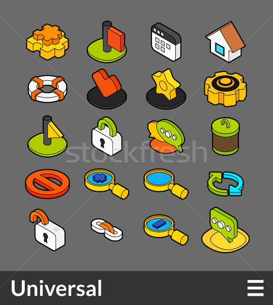 Isometric outline color icons set Stock photo © sidmay