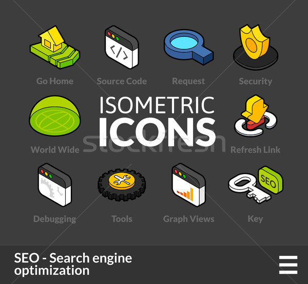 Isometric outline icons set 8 Stock photo © sidmay