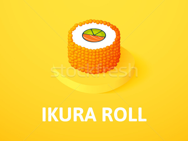 Ikura roll isometric icon, isolated on color background Stock photo © sidmay