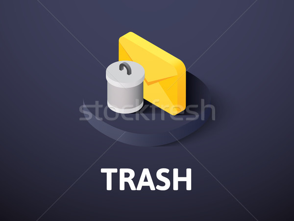 Trash isometric icon, isolated on color background Stock photo © sidmay