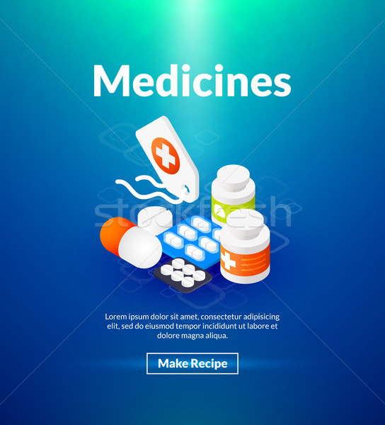 Medicines poster of isometric color design Stock photo © sidmay