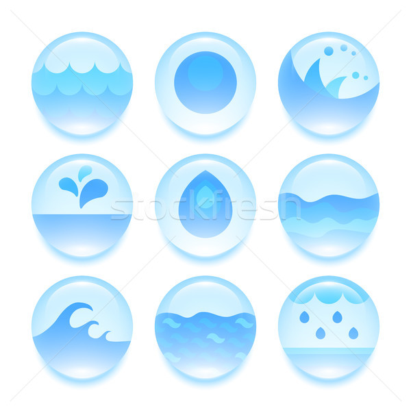 Set of abstract flat water icons Stock photo © sidmay