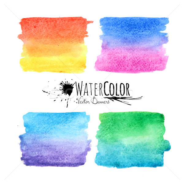 Watercolor textured paint stains colorful set Stock photo © sidmay