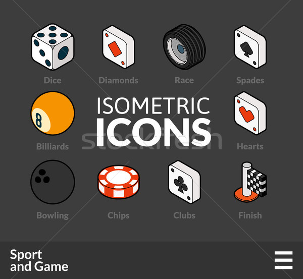 Isometric outline icons set 45 Stock photo © sidmay