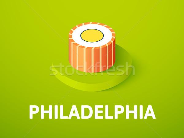 フィラデルフィア アイソメトリック アイコン 孤立した 色 ベクトル ストックフォト © sidmay