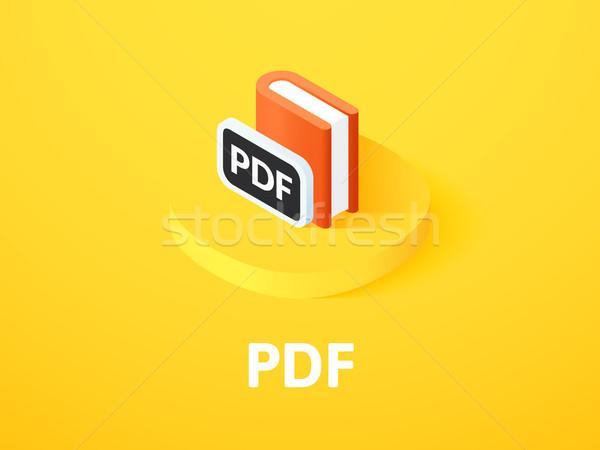 Pdf изометрический икона изолированный цвета вектора Сток-фото © sidmay