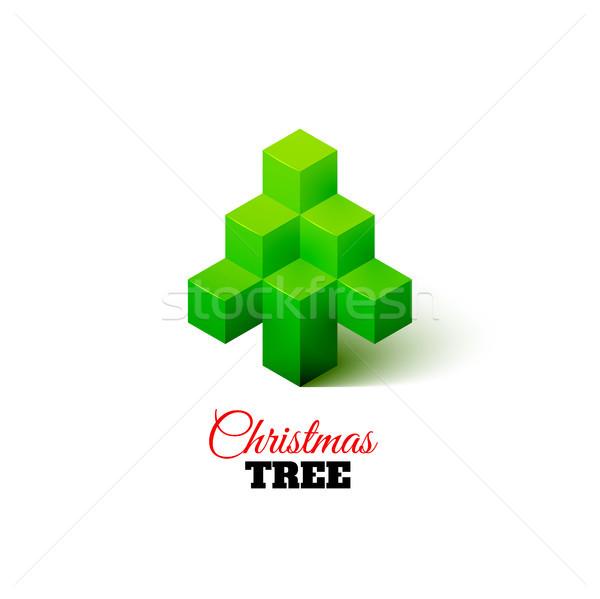 Isometrische kerstboom logo meetkundig gelukkig abstract Stockfoto © sidmay