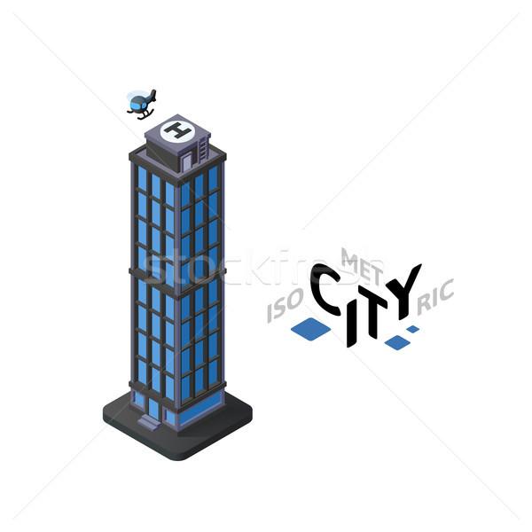 Izometrikus felhőkarcoló ikon épület város infografika Stock fotó © sidmay