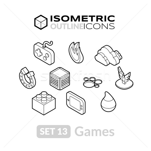 Isometric outline icons set 13 Stock photo © sidmay