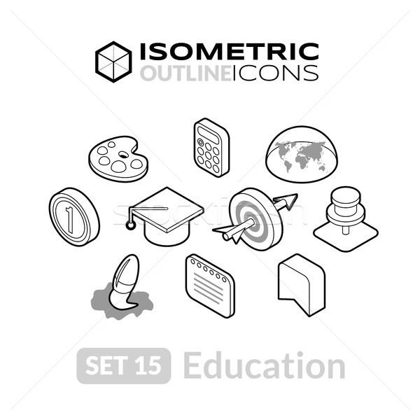 Isometrische schets 15 iconen 3D Stockfoto © sidmay