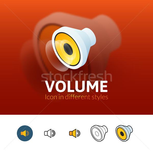 Volume icon verschillend stijl kleur vector Stockfoto © sidmay