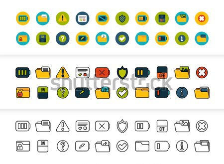 Black and color outline icons, thin stroke line style design Stock photo © sidmay