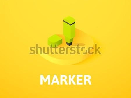 Flag isometric icon, isolated on color background Stock photo © sidmay
