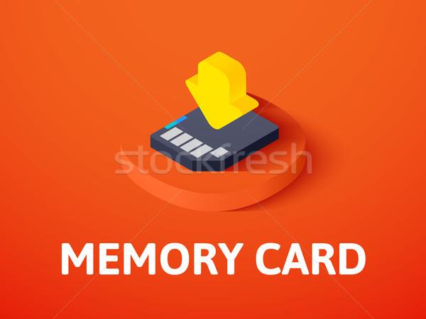 Emlék kártya izometrikus ikon izolált szín Stock fotó © sidmay