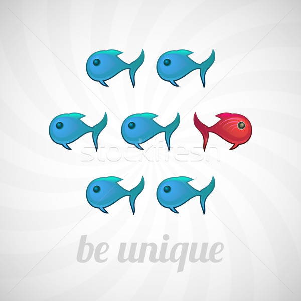 Be unique concept, blue red fish, isolated Stock photo © sidmay