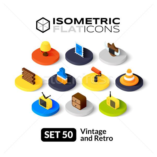 Isometric flat icons set 50 Stock photo © sidmay