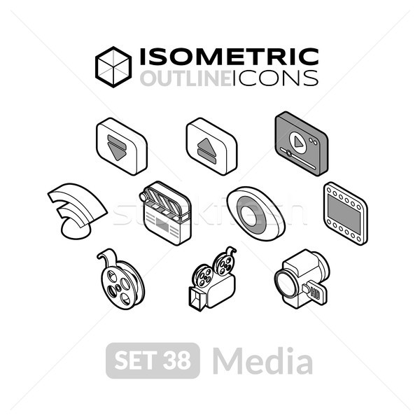 Isometric outline icons set 38 Stock photo © sidmay