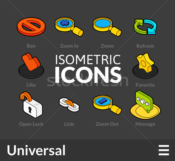 Isometric outline icons set 2 Stock photo © sidmay