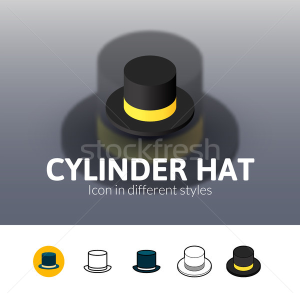 Silindir şapka ikon farklı stil renk Stok fotoğraf © sidmay