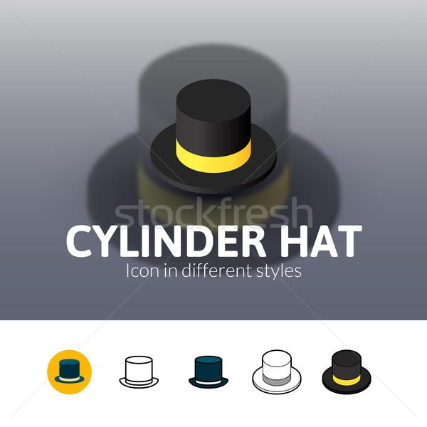 Cilinder hoed icon verschillend stijl kleur Stockfoto © sidmay