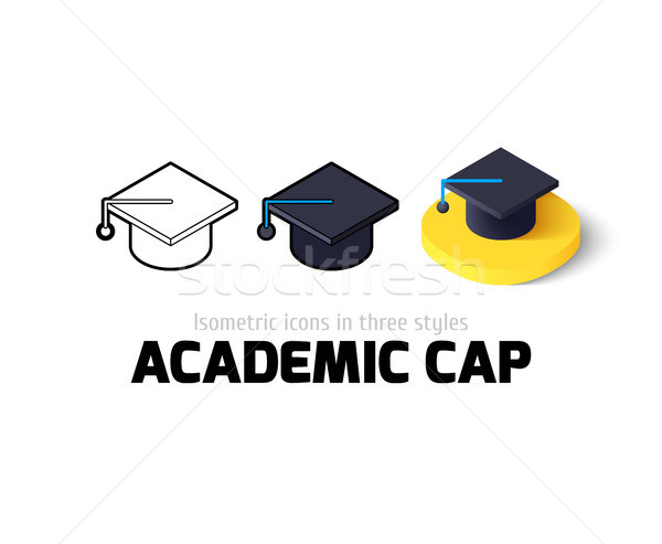 Academic cap icon in different style Stock photo © sidmay