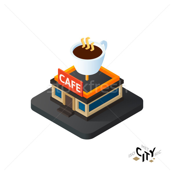 Isometric coffeehouse cafe icon, building city infographic element, vector illustration Stock photo © sidmay