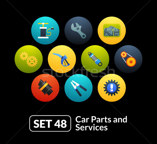 Stock photo: Flat icons set 48 - car parts and services