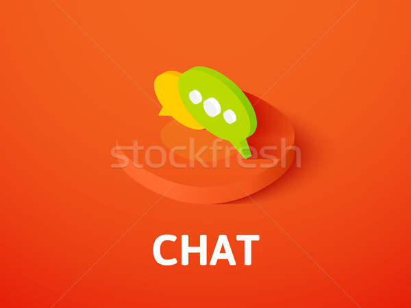 Chat isometric icon, isolated on color background Stock photo © sidmay