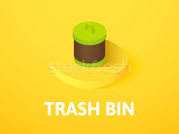 Trash bin isometric icon, isolated on color background Stock photo © sidmay