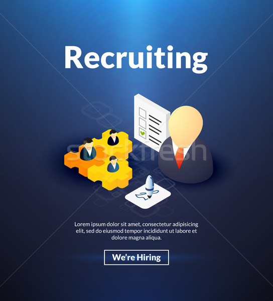 Recruiting poster of isometric color design Stock photo © sidmay
