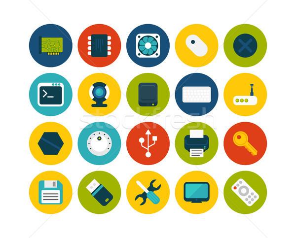 13 iconos vector establecer ordenador Foto stock © sidmay
