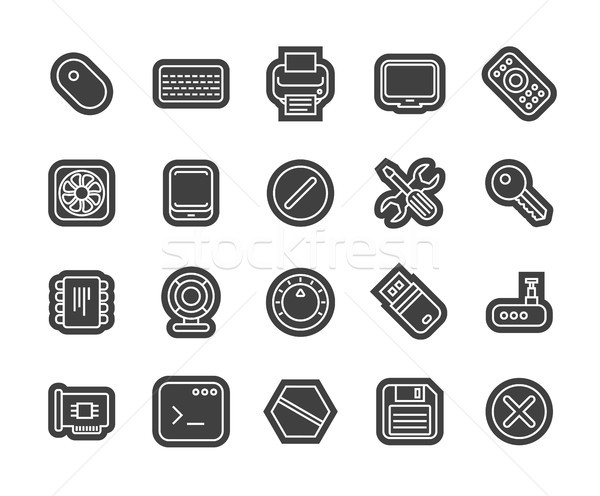 Outline icons thin flat design, modern line stroke style Stock photo © sidmay