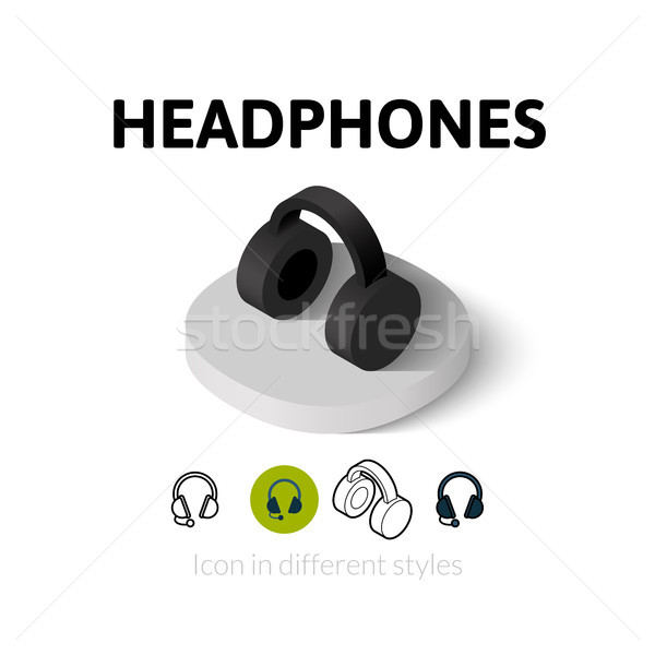 Headphones icon in different style Stock photo © sidmay
