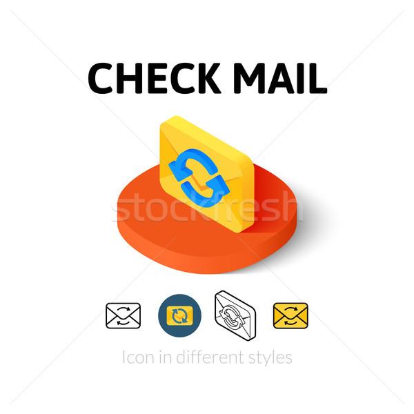 Csekk posta ikon különböző stílus vektor Stock fotó © sidmay