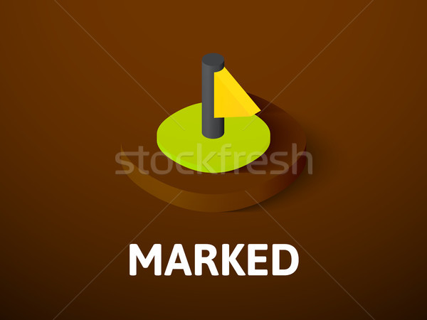 Marked isometric icon, isolated on color background Stock photo © sidmay