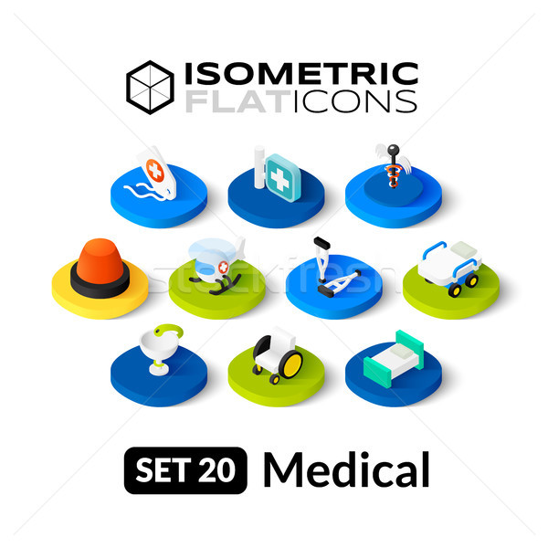 Isometric flat icons set 20 Stock photo © sidmay