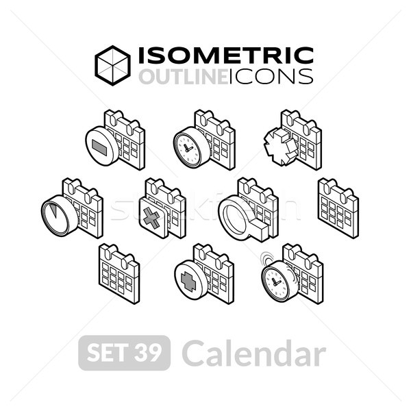 Isometric outline icons set 39 Stock photo © sidmay