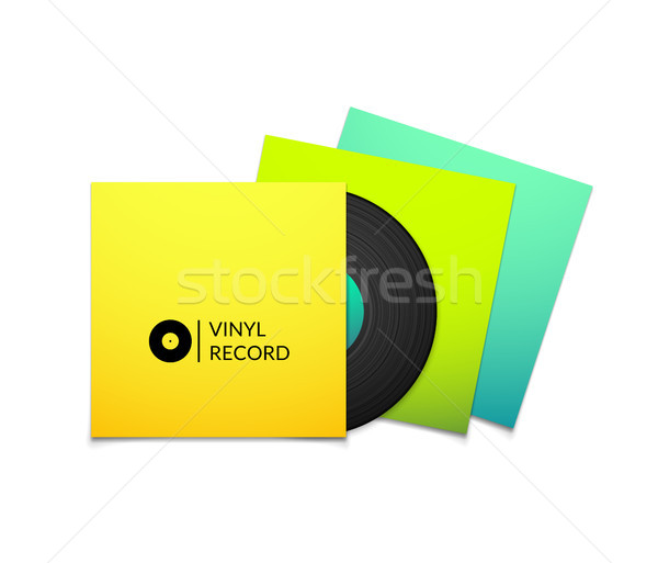 Black vintage vinyl record with blank yellow blue cyan and green cover case isolated on white backgr Stock photo © sidmay