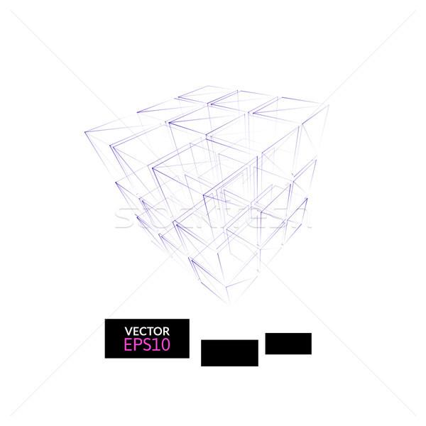 Cubo geometria construção ícone roxo azul Foto stock © sidmay