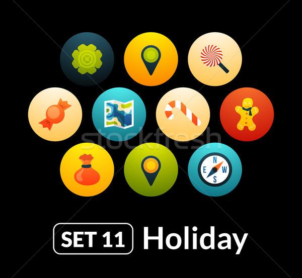 ícones vetor conjunto férias coleção telefone Foto stock © sidmay