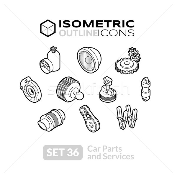 Isometric outline icons set 36 Stock photo © sidmay
