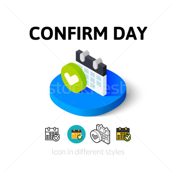 Confirm day icon in different style Stock photo © sidmay