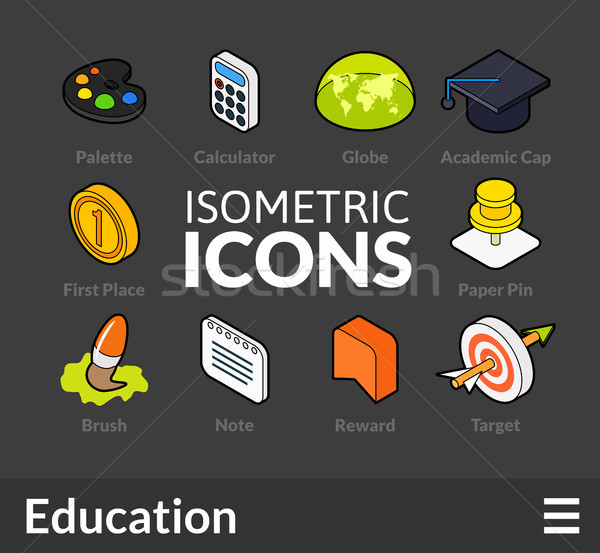 Isometric outline icons set 15 Stock photo © sidmay