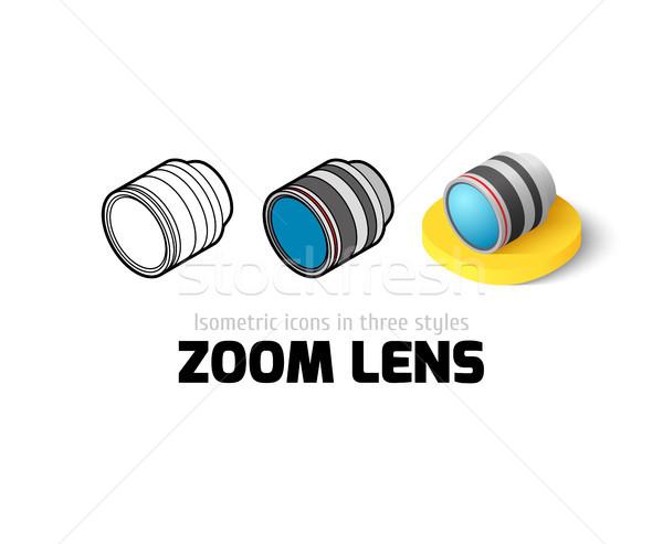 Zoom lenti icona diverso stile vettore Foto d'archivio © sidmay